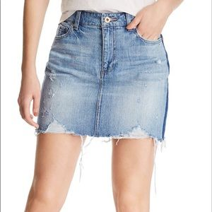 Pistola Sierra Side Stripe Distressed Denim Skirt